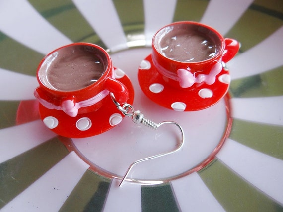 Coffee Earrings Barista Shop Tea Cup Teacup And Saucer Hipster Devonshire Party Cafe Latte Espresso Black Earring Flat White Red Polka Dot
