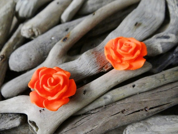 Orange UV Neon Fluoro Rose Studs Stud Earring Earrings Flower Fluro Fluorescent Fluoroscent Ultraviolet Cabochon Cabochons Flatback