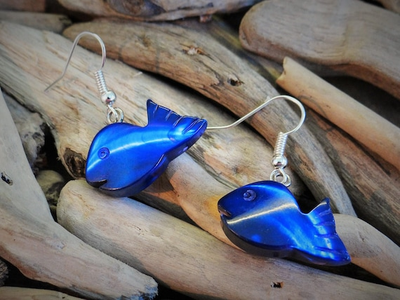 Blue Mother Of Pearl MOP Hand Carved Shell Seashell Fish Earrings Ear Rings Dangle Drop Hooks Mermaid Dyed