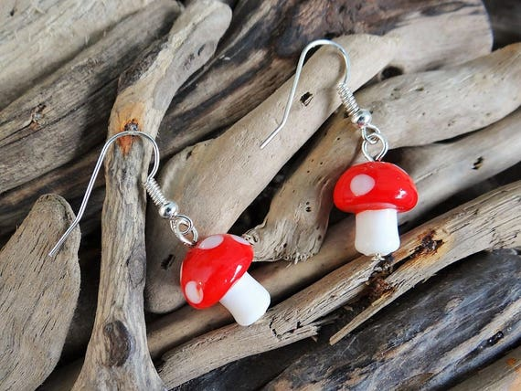 Lampwork Glass Fairy Mushroom Toadstool Earrings Fairies Fae Toad Stool Elf Elves Pixies Magic Magical Faery Earring Ear Ring Rings
