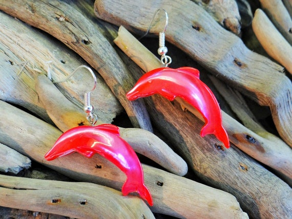 Bright Coral Red Mother Of Pearl MOP Hand Carved Shell Seashell Dolphin Dolphins Earrings Ear Rings Dangle Drop Hooks Mermaid Dyed Surf