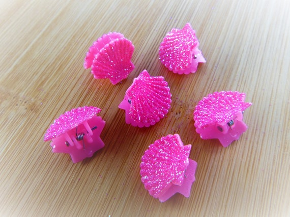 6 pc Hot Pink Glitter Little Shell Seashell Clam Clamshell Hairclip Hair Clip Accessory Claw Mermaid Accessories Butterfly Clips