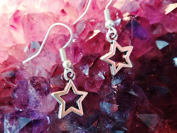 Star Lucky Wish Moon Astrology Earring Earrings Drops Drop Dangle Dangles Pagan Wiccan Wicca Spiritual Protection Witch Witchcraft Magick
