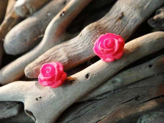 Watermelon UV Neon Fluoro Rose Studs Stud Earring Earrings Flower Fluro Fluorescent Fluoroscent Ultraviolet Pink Red Tomato Flatback