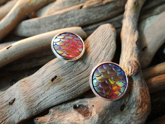 Red I'm Really A Mermaid Scales Small Little Scale Tail Dragon Dragons Iridescent Studs Stud Earring Earrings Fantasy Festival