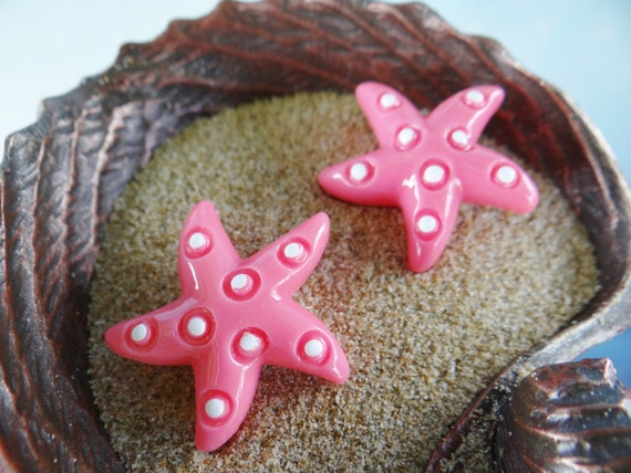 Little Starfish Stud Earrings Earring Studs Nautical Shell Seashell star fish Beach I'm Really A Mermaid Pinup Rockabilly