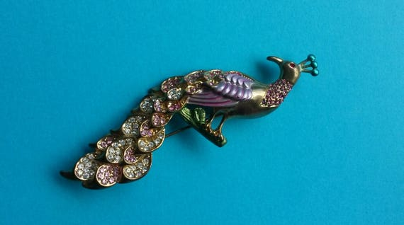 Vintage Retro Peacock Brooch - Gold tone - Enamel Enameled - Crystals Rhinestones Gems Bling - Bird Feather Feathers