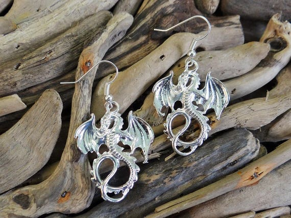 Bright Silver Dragon Earrings Goth Gothic Pagan Fantasy Chinese New Year