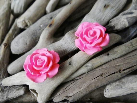 Pink UV Neon Fluoro Rose Studs Stud Earring Earrings Flower Fluro Fluorescent Fluoroscent Ultraviolet Flatback Cabochon