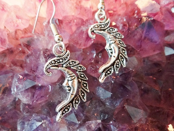 Moon Face Crescent Earring Earrings Ear Ring Rings Drops Drop Dangle Dangles Pagan Wiccan Wicca Spiritual Protection Witch Witchcraft Magick
