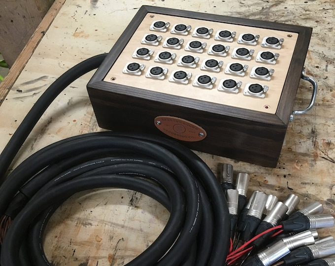 24-Channel Audio Snake with Wooden Junction Box with Mogami Cabling