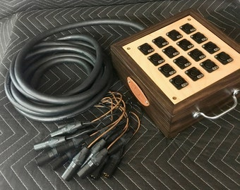16-Channel Audio Snake with Wooden Junction Box with Mogami Cabling
