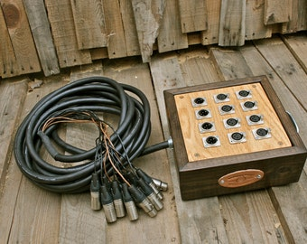12-Channel Audio Snake with Wooden Junction Box with Mogami Cabling