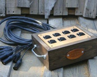 8-Channel Audio Snake with Custom Wood Input Box, Gold, Mogami