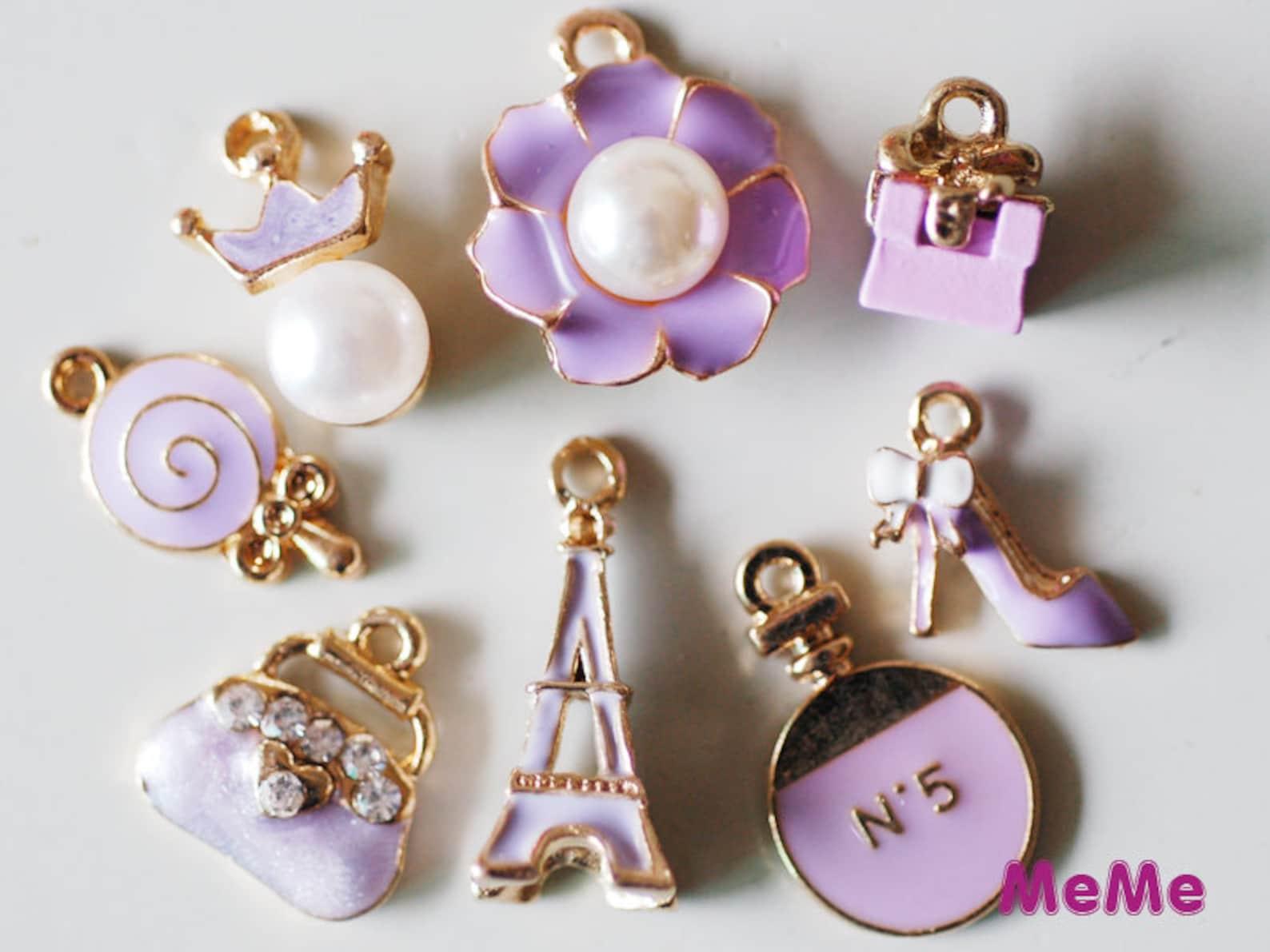 1 set 8 pcs charms lilac alloy purse ballet shoe kawaii bracelets pendants accessories studs cabochon deco den phone case diy de