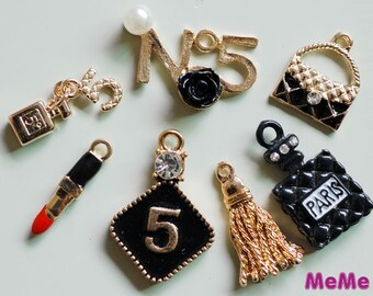 1 Set 7 Pcs Charms Alloy Purse Number Five Kawaii Bracelets Pendants Accessories Studs Cabochon Deco Den Phone Case DIY Deco kit PP062