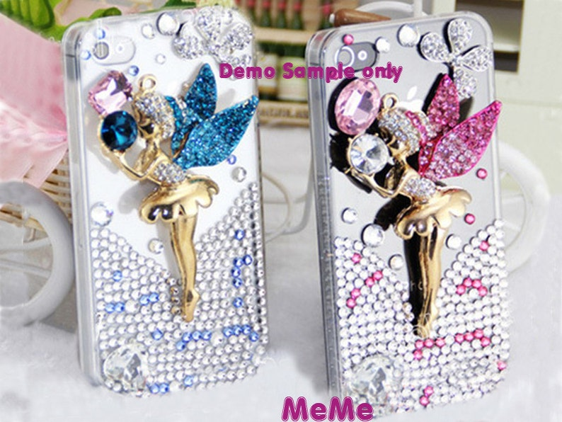 DIY cell phone case bling gold pearl mirror flower cabochon decoden deco kit