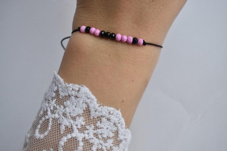 Morse Code Bracelet \u2022 Boyfriend Girlfriend Jewelry \u2022 Custom Personalized \u2022 Gift for Her \u2022 Love code \u2022 Message Bracelet \u2022 pink black crystals