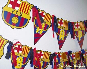 Free Shipping / FC Barcelona Birthday Banner - Barcelona Birthday Banner - Barcelona Banner - FC Barcelona Birthday Party