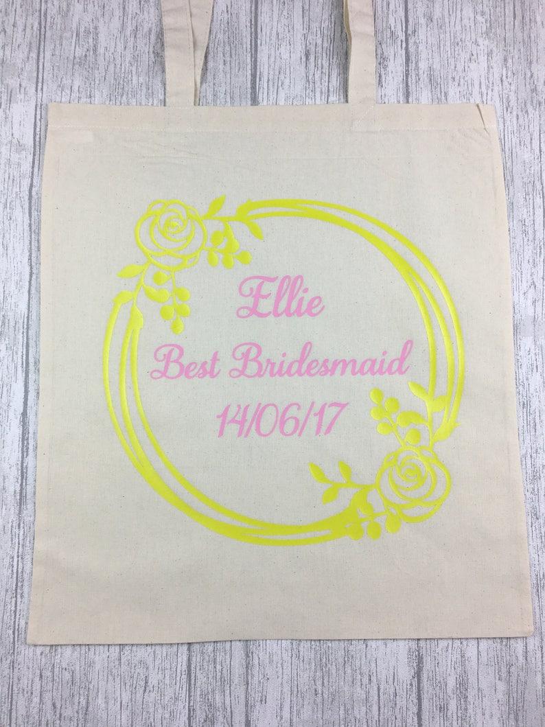 Maid of Honour Gift Bridesmaid Tote Bag Bridesmaid Bag, Wedding Wedding Tote Bridesmaid Gift