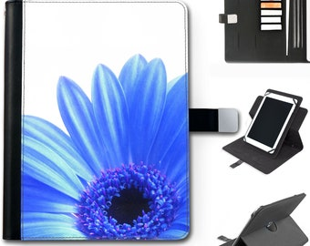Universal Tablet Blue Flower Lenovo Huawei Nokia Lumia Xiaomi HTC samsung sony alcatel Protective Pu Leather Flip Wallet 360 Swivel Case