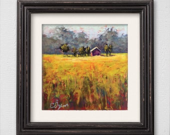 """Original Pastel Painting """"Lonely House"""""""