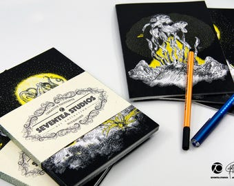 Creative Thoughts 3 Notebooks 48 pages recycled paper A5 by SeventeaStudios I Art Collection Cthulhu Octopus Fish Sea aquarium water pyramid