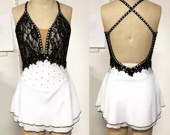 Adult XS black and white skating dress