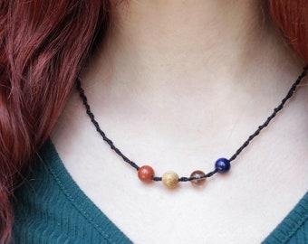 Semi-precious Gem Goddess choker OOAKhand-made UNISEX Crystal jewelry Earth WarriorTribal Jasper Macrame Necklace Spiritualhealing