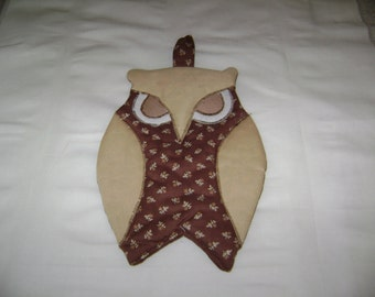 Vintage owl hot pad browns 9 x 6 1970's owl lovers