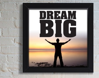 Work Hard Dream Big - College Student Gift - Professor Gift - Wall Decal - Quotes on Canvas - Motivational Signs - Canvas Wall Hanging