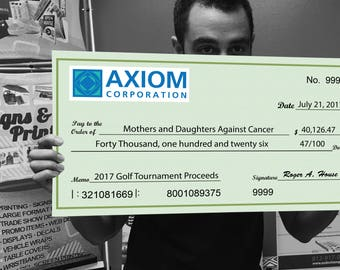 Giant Check - Oversize Check - Novelty Check -Printed Oversized Check - Presentation Check - Big Check - Charity Checks - sponsorship -win