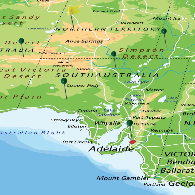 Australia Map Poster.Large Australia Map Poster With Push Pins World Travel And Etsy