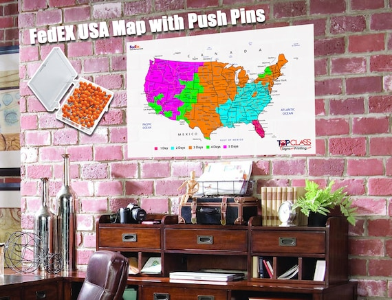 Terrific Fedex Large Shipping Map Large Usa Map Poster With Push Home Interior And Landscaping Ponolsignezvosmurscom