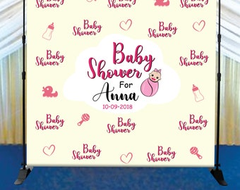 Baby Shower step and repeat backdrop banner 8x8' with hardware - Photo Booth Red Carpet - Custom Backdrop