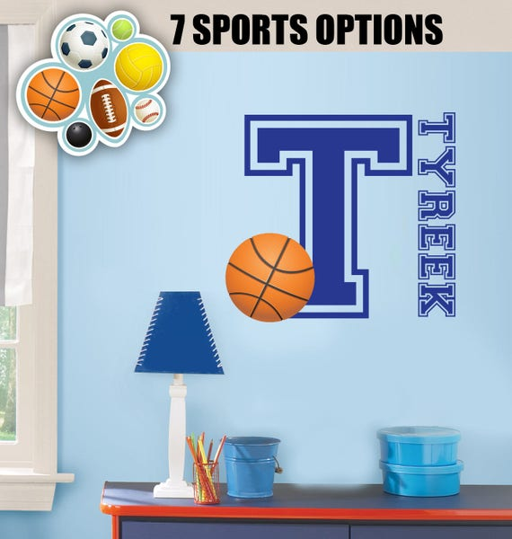 Personalized Basketball decor for walls - Football wall decals for ...