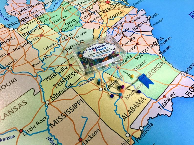 Large Usa Map Poster With Push Pins Push Pin Map Travel Map Etsy