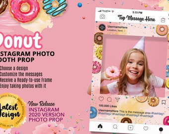 Donut Party Photo Props - Birthday Photo Booth Frame - Baby Shower Photo Booth Prop - Instagram Frame - Birthday Party Ideas - Dessert Theme
