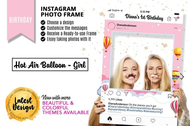 Instagram Frame Baby Shower Photo Booth Frame Hot Air Balloon Girl Gender Reveal Decoration Baby Shower Decorations Girl
