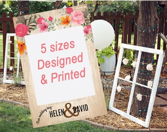 Bridal Shower Photo Prop - Photo Booth Prop - Wedding Photo Prop - Wood and Floral Design - Customized for any events Instagram Frame Prop