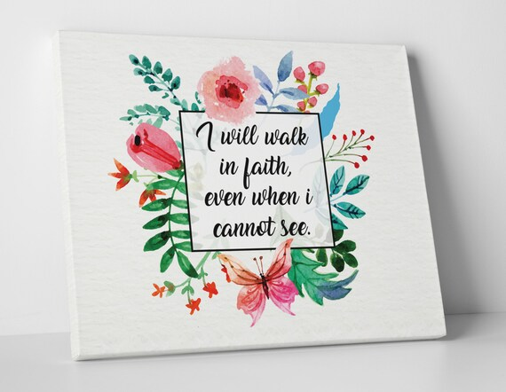 Christian Wall Art Bible Verse Quote I Will Walk In Faith