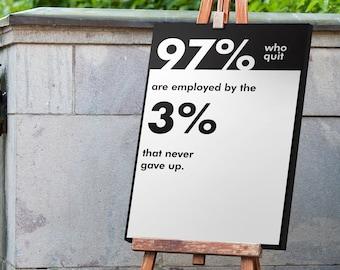 Office Decor, Hustle Poster, Work Hard, Inspirational Quotes, 3 Piece wall art, Motivational Print, Entrepreneur Gift