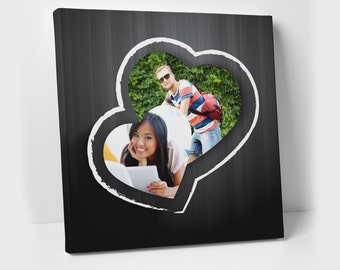 Heart Photo Frame - Relationship Gift - Heart Photo Collage - Photo Gifts - Boyfriend Gift - Couple Portrait - Fiance Gift - Couple Photo