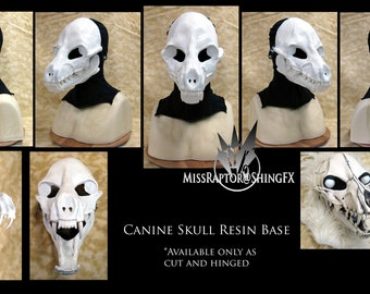 Canine Wolf Skull Resin Mask Base - cut and hinged  UNPAINTED