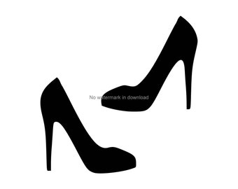 ladies shoes clipart black and white