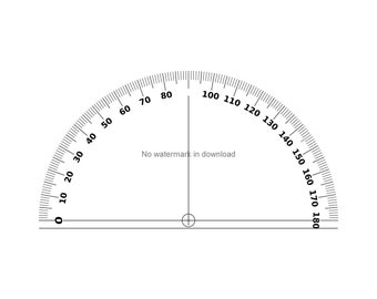 image relating to Printable Protractor referred to as Protractor printable Etsy