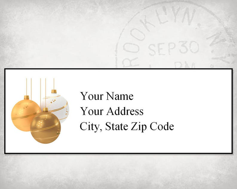 Return Address Label Template Editable Printable PDF Download Gold Christmas Baubles Make All At Once or Individually