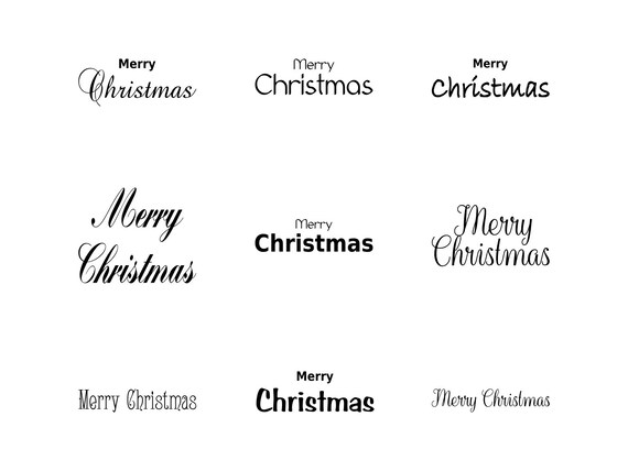Merry Christmas Words Svg Christmas Card Words Merry | Etsy