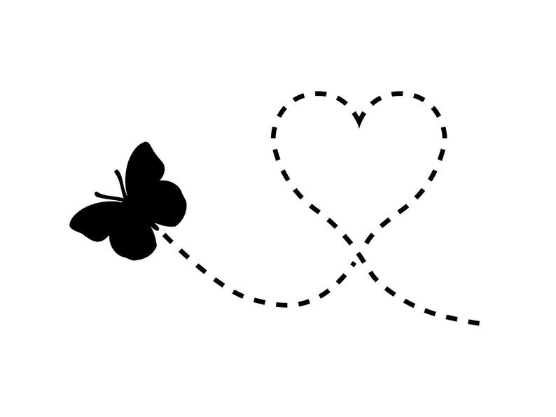 Flying Butterfly Svg Heart Butterfly Clipart File ...