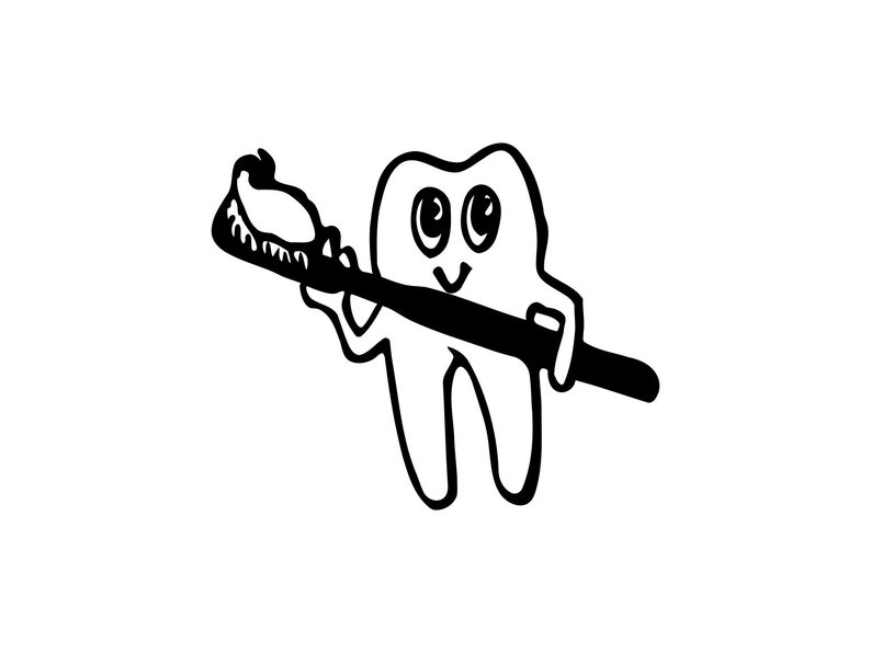 Toothbrush Svg Dental Cartoon Svg Tooth Brush Silhouette